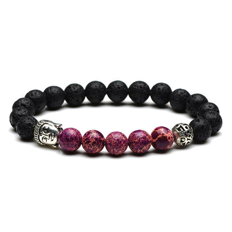 Buddha Head Bead Bracelet (Purple)