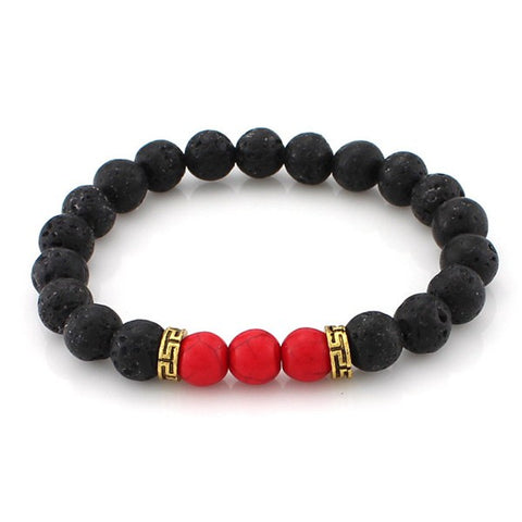 Red Vein Lava Stone Bead Bracelet