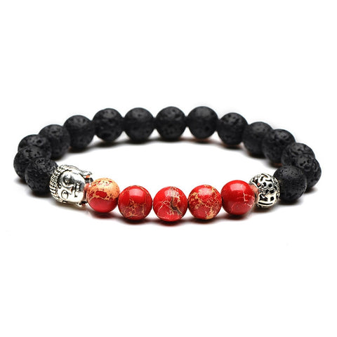 Buddha Head Bead Bracelet (Red)