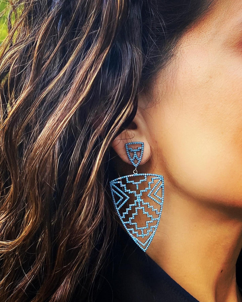 Black Spinel Aztec Earrings