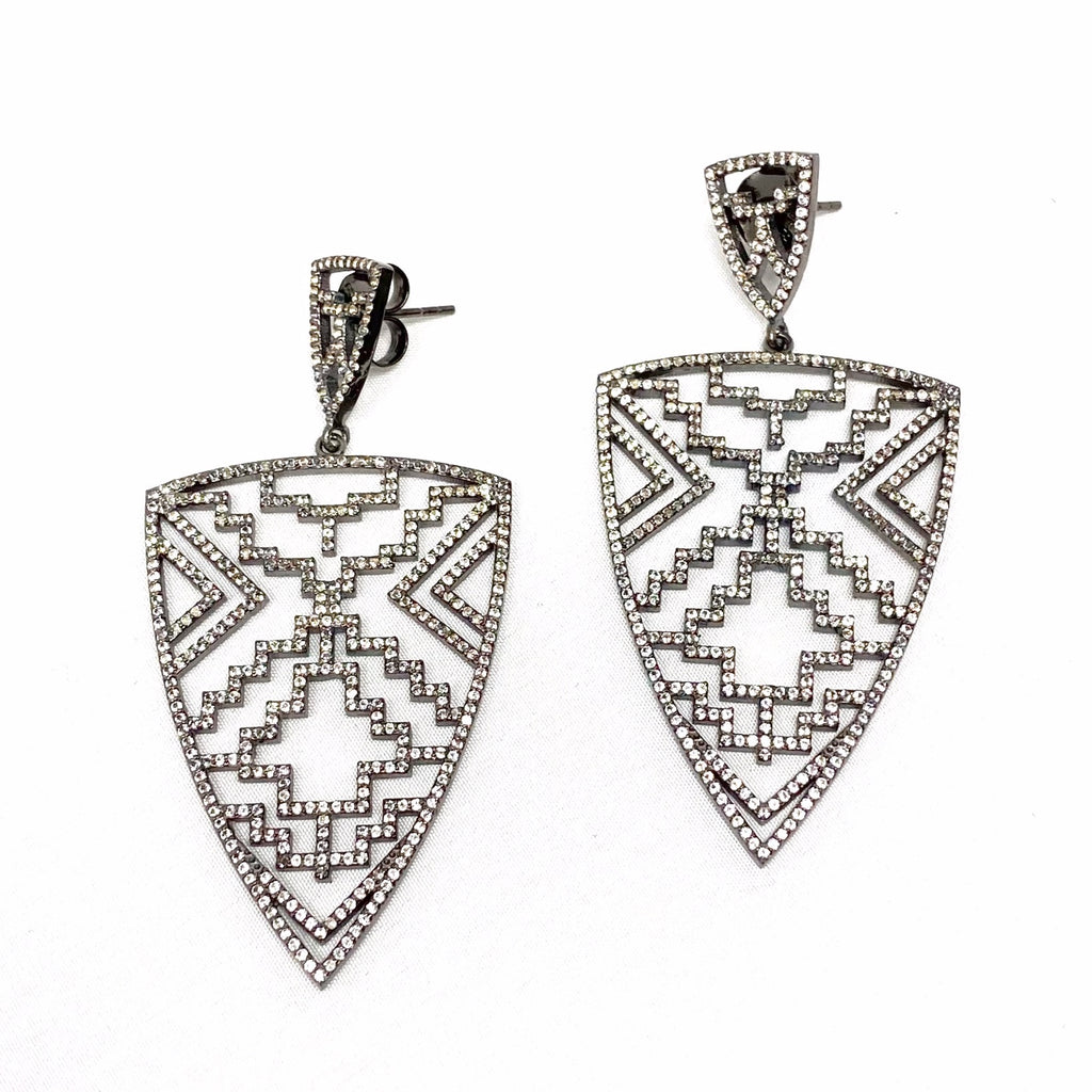 White Topaz Aztec Shield Earrings