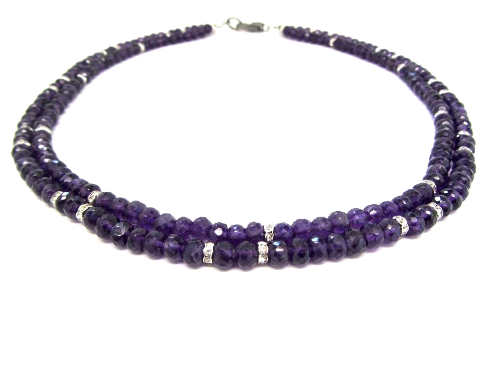 Double Strand Amethyst Rondelles with Diamond Clasp
