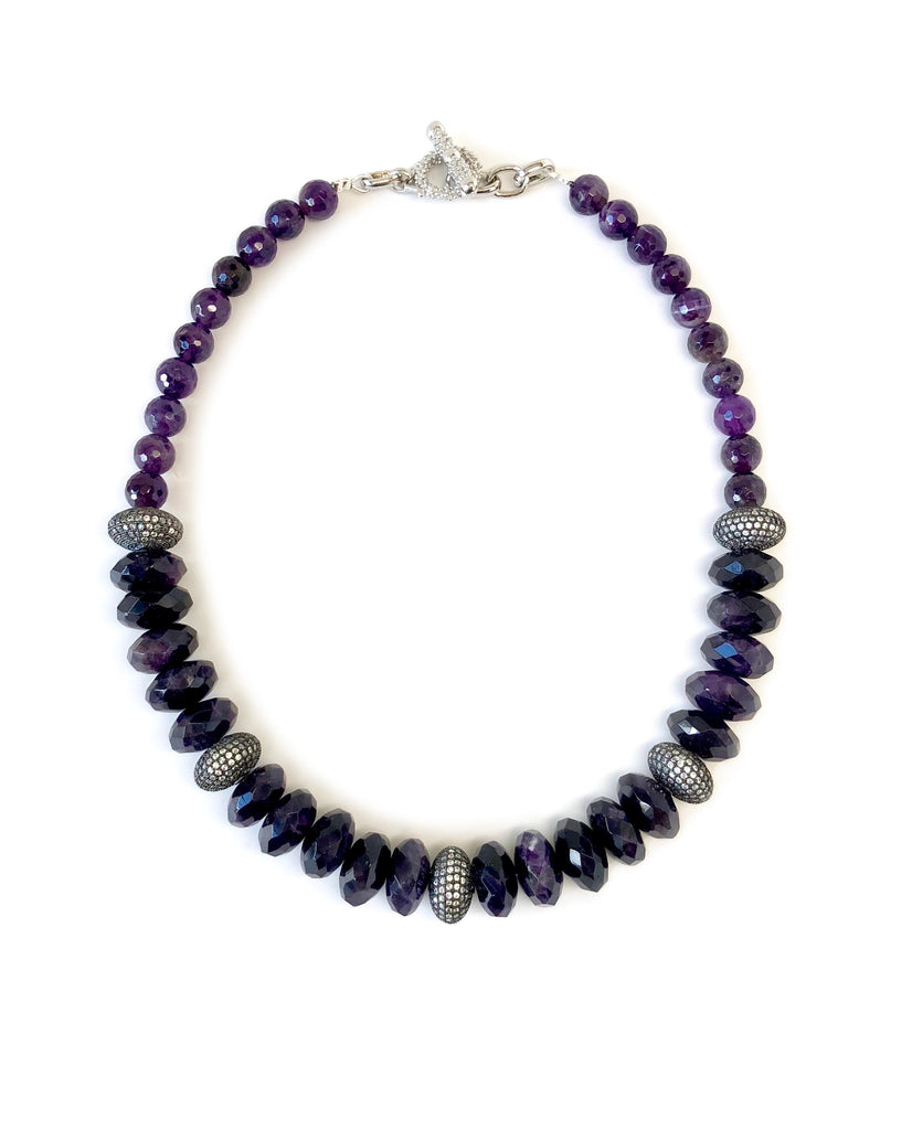 Amethyst Necklace with Pave Disk Beads