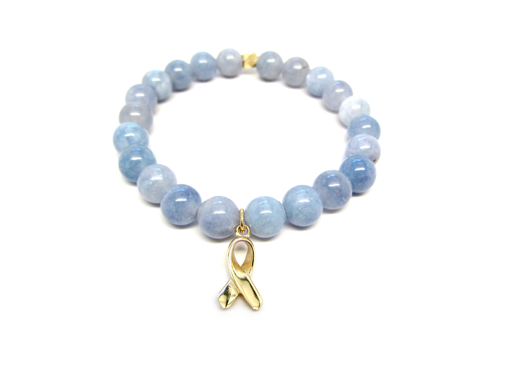 Blue Aquamarine Breast Cancer Awareness Ribbon Charm Bracelet