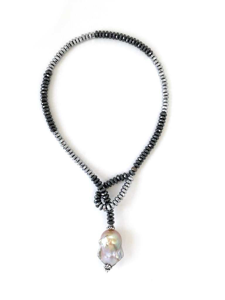 Silver & Gunmetal Hematite Dash with Baroque Pearl Drop Necklace