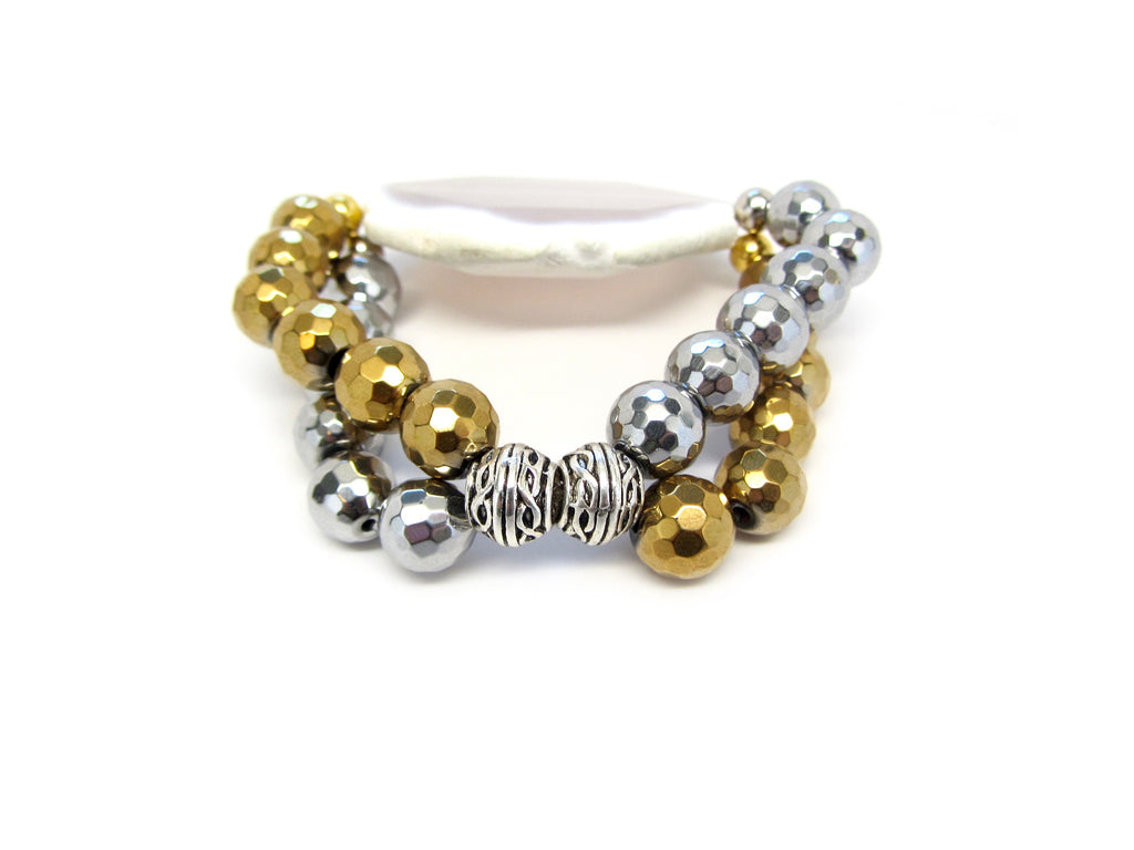 Silver & Gold Double Strand with Beige Marble Agate Slice