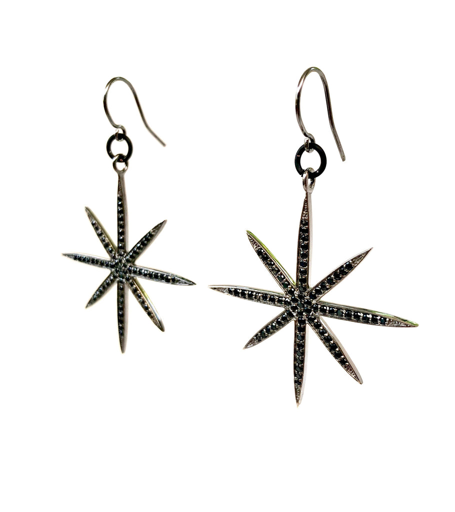 Black Spinel 8-Point Star Earrings