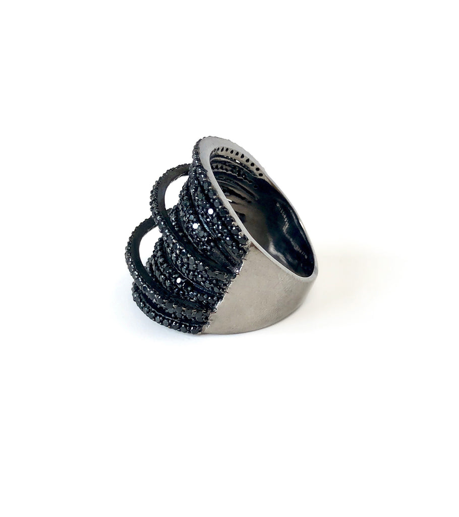 Black Spinel Bands Wrap Ring