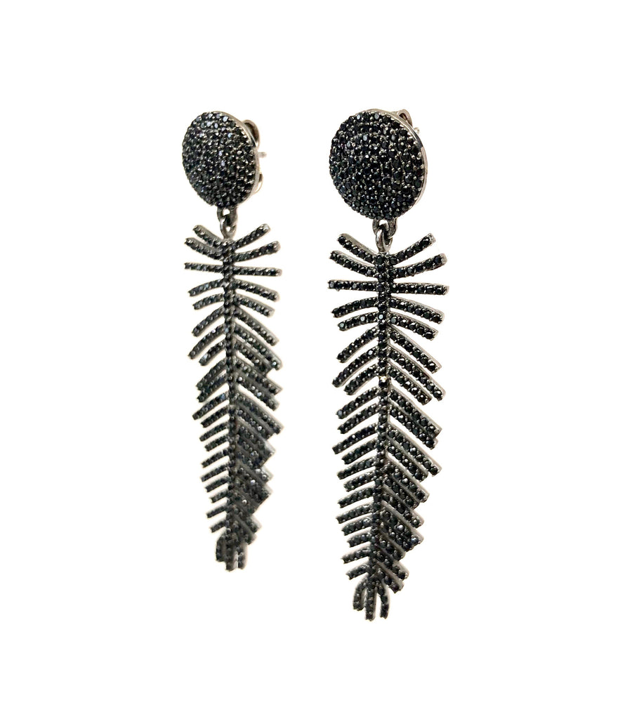 Black Spinel Feather Earrings