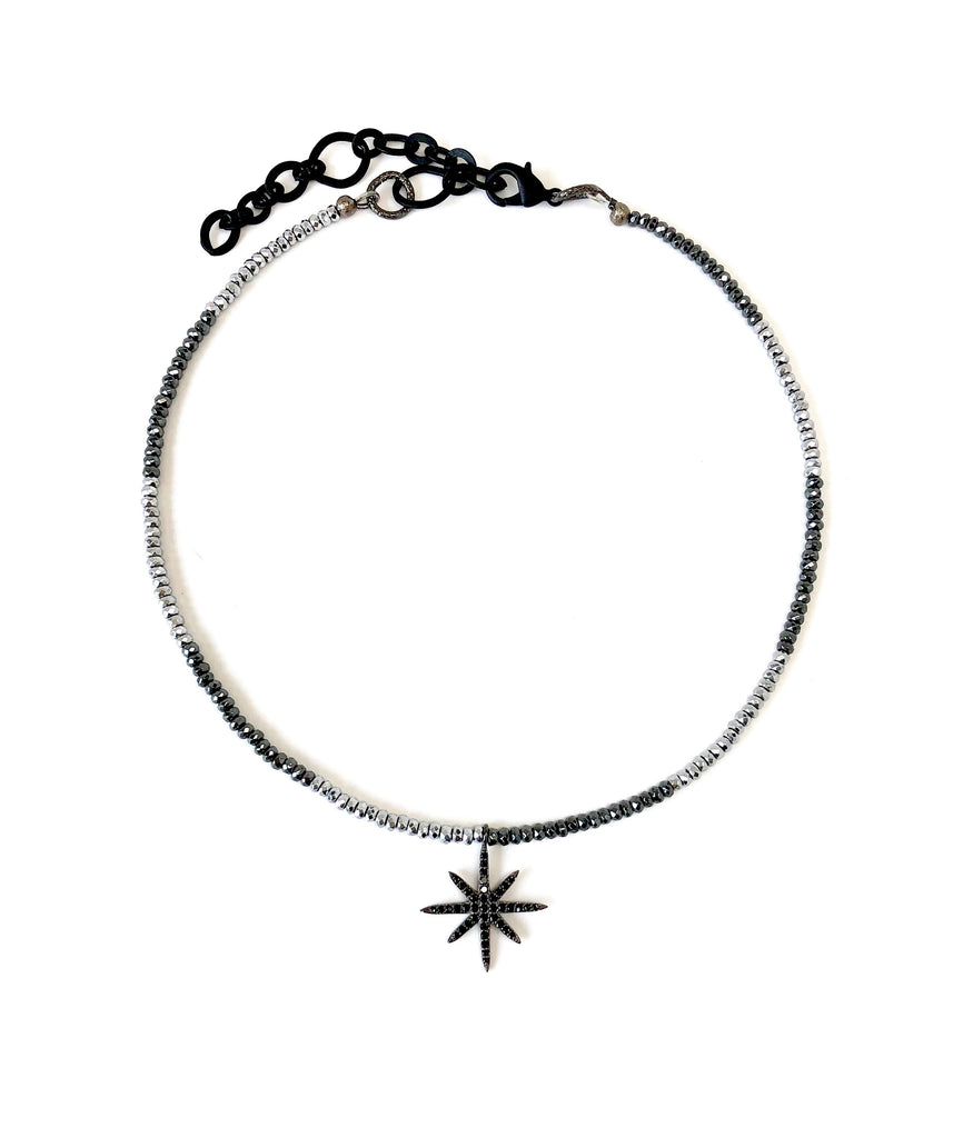 Mini Black Spinel 8-Point Star Charm on Silver & Gunmetal Hematite Necklace