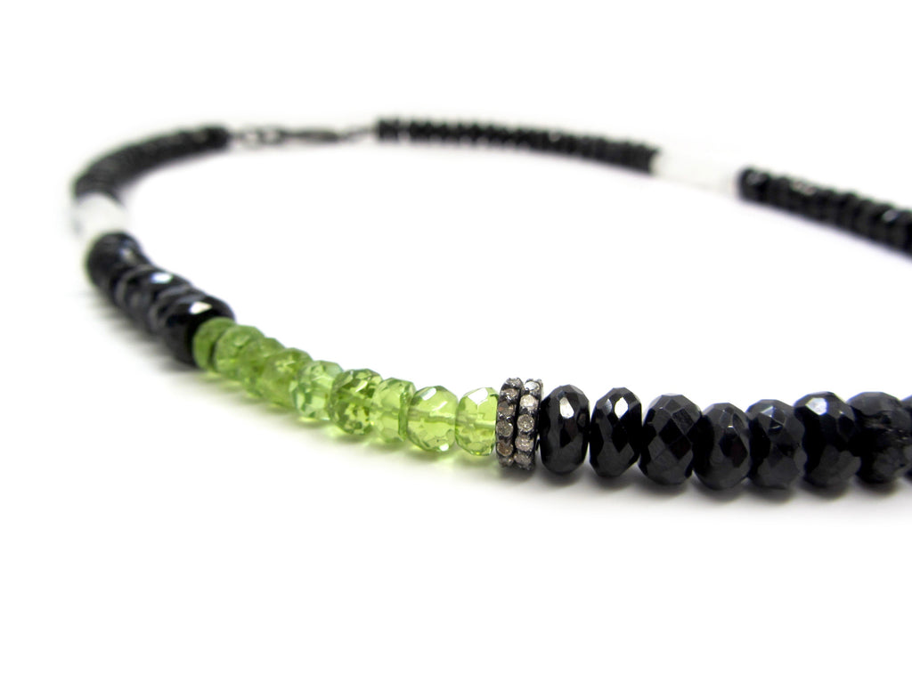 Black Spinel, Moonstone & Peridot Necklace with Diamond Spacers