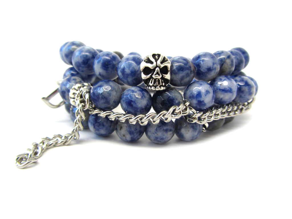 Stack of 3 Denim Lapis & Chain Bracelets