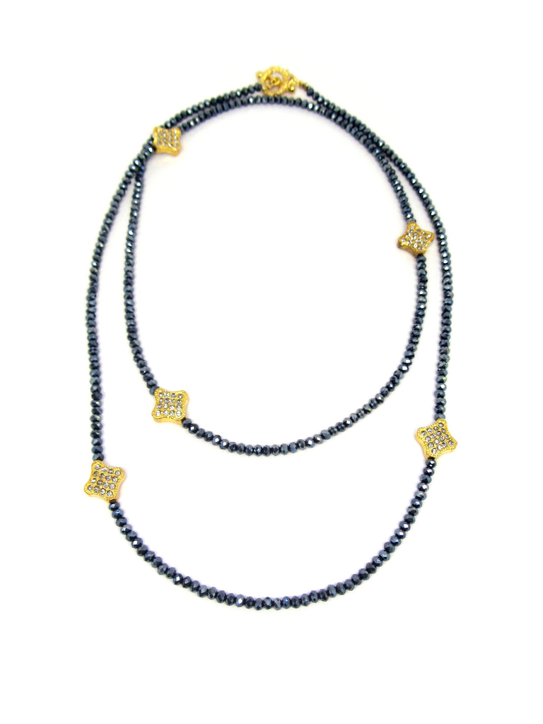 Navy & Gold Clover Necklace