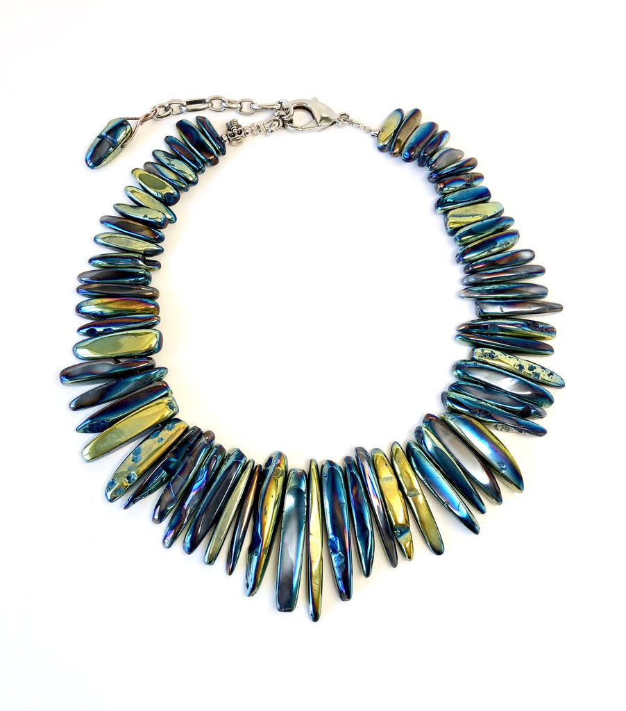 Blue, Green & Gold Iridescent Agate Stick Necklace
