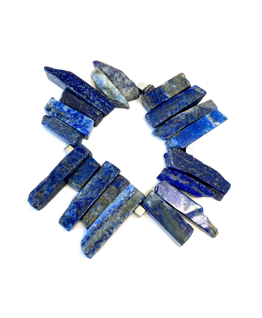Blue Lapis Sticks with Gold Flakes Bracelet