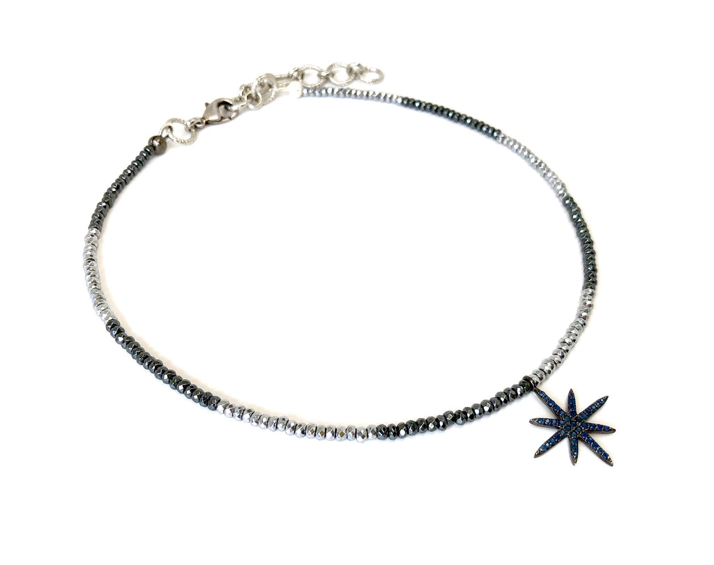 Mini Blue Sapphire 8-Point Star Charm on Silver & Gunmetal Hematite Necklace