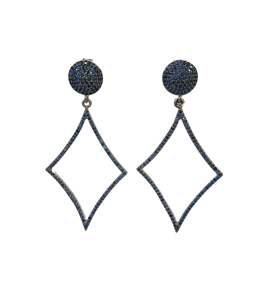 Sapphire Skinny Diamond Shaped Earrings