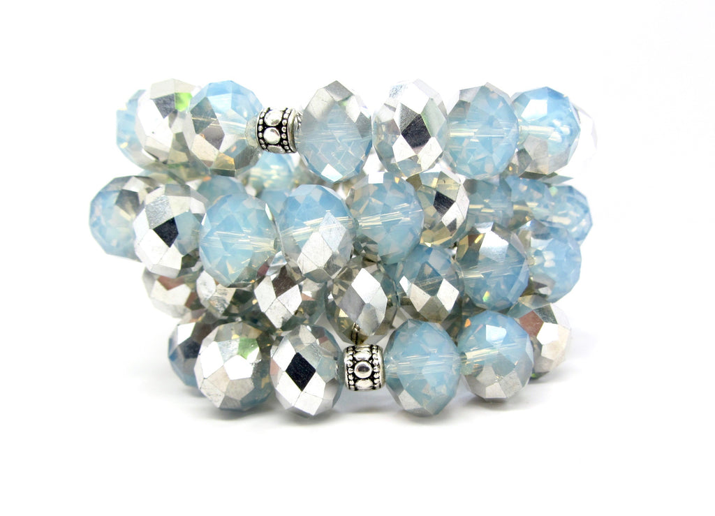 Set of 2: Maggie Pale Blue & Silver Iridescent Glass Beaded Bracelets
