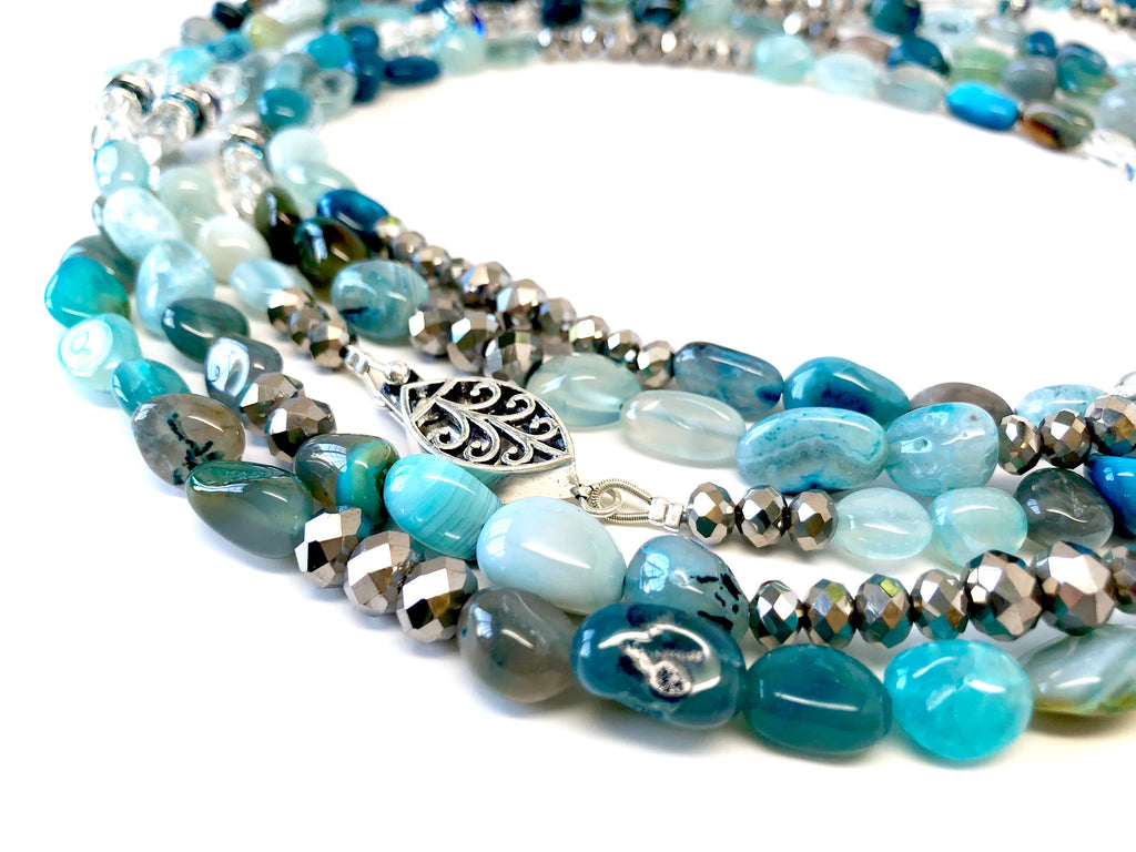 Lori Silver & Blue Stone Opera Necklace