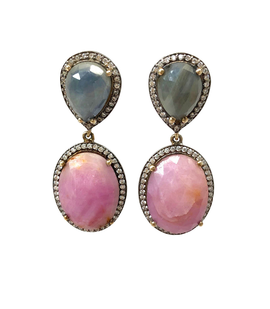 Blue & Pink Sapphire Earrings