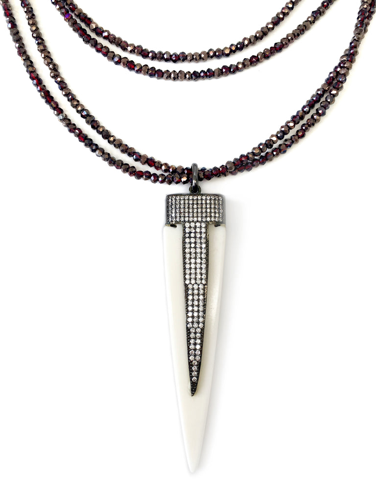 Pave Bone Arrow Pendant on Red Double Strand Necklace