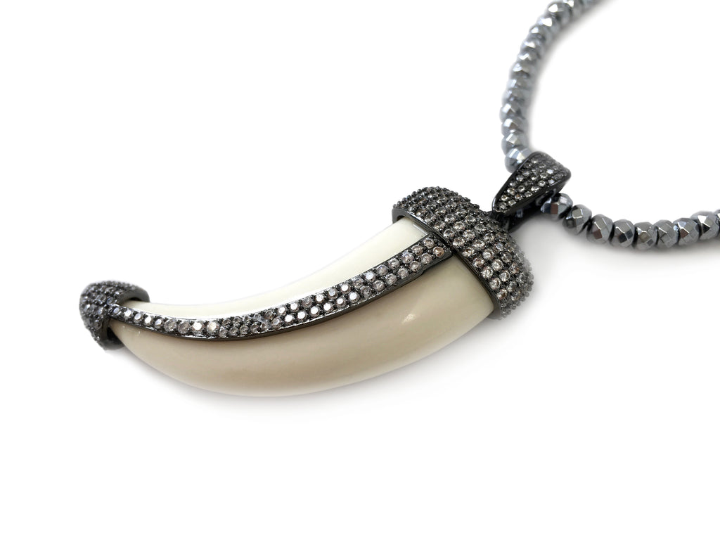 Neely Pave Bone Horn Pendant on Silver & Gunmetal Necklace
