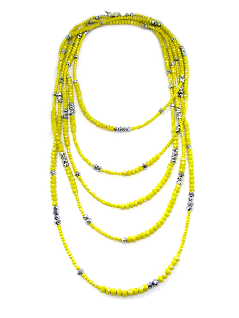 Lori Yellow Iridescent Rondelle Opera Necklace