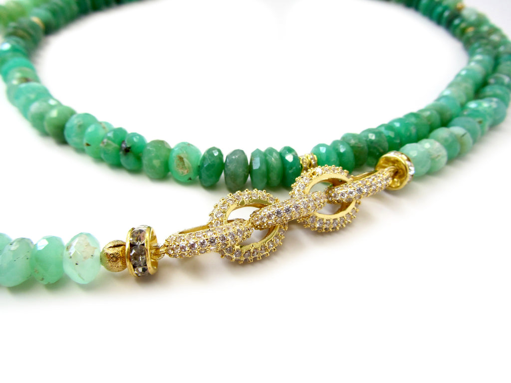 Long Chrysoprase Necklace with Gold Pave Link Chain