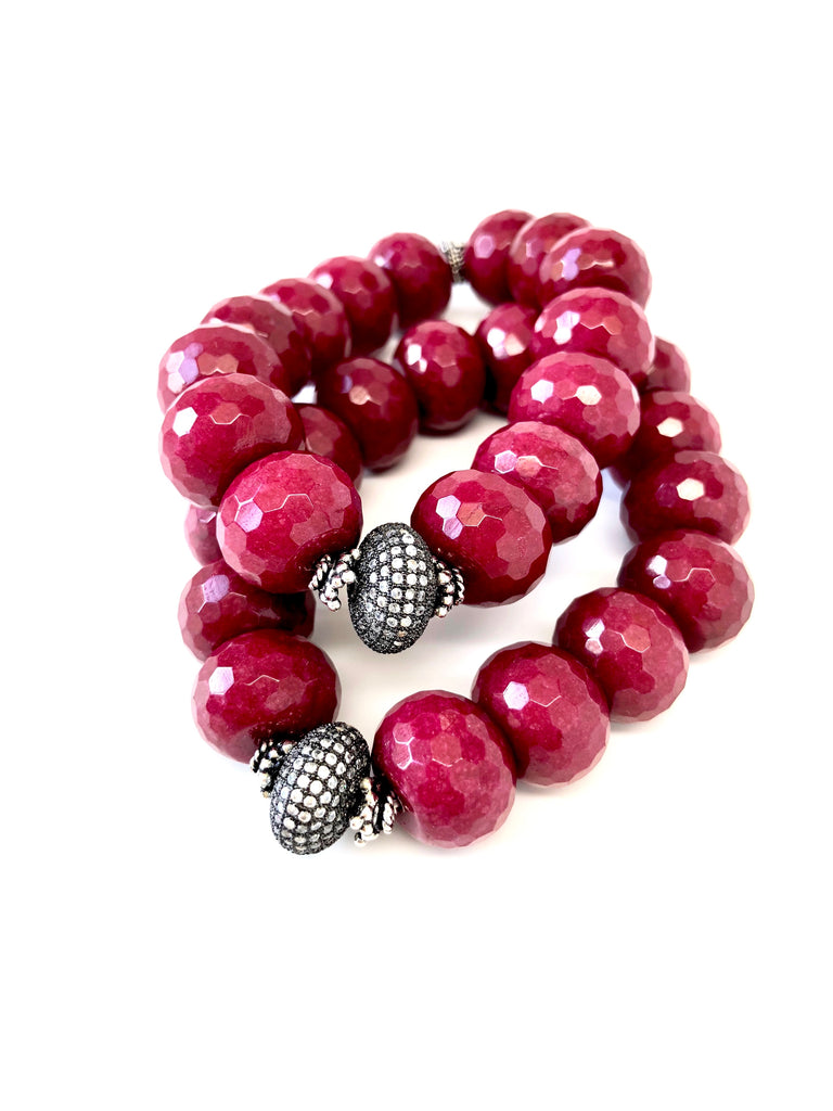 Dark Red Jade Bracelet with Pave Disk Center