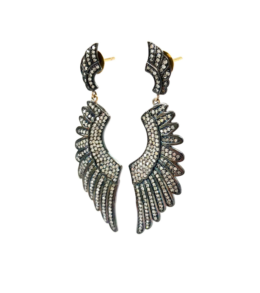 Diamond Encrusted Large Angel Wing Earrings with Mini Angle Wing Top