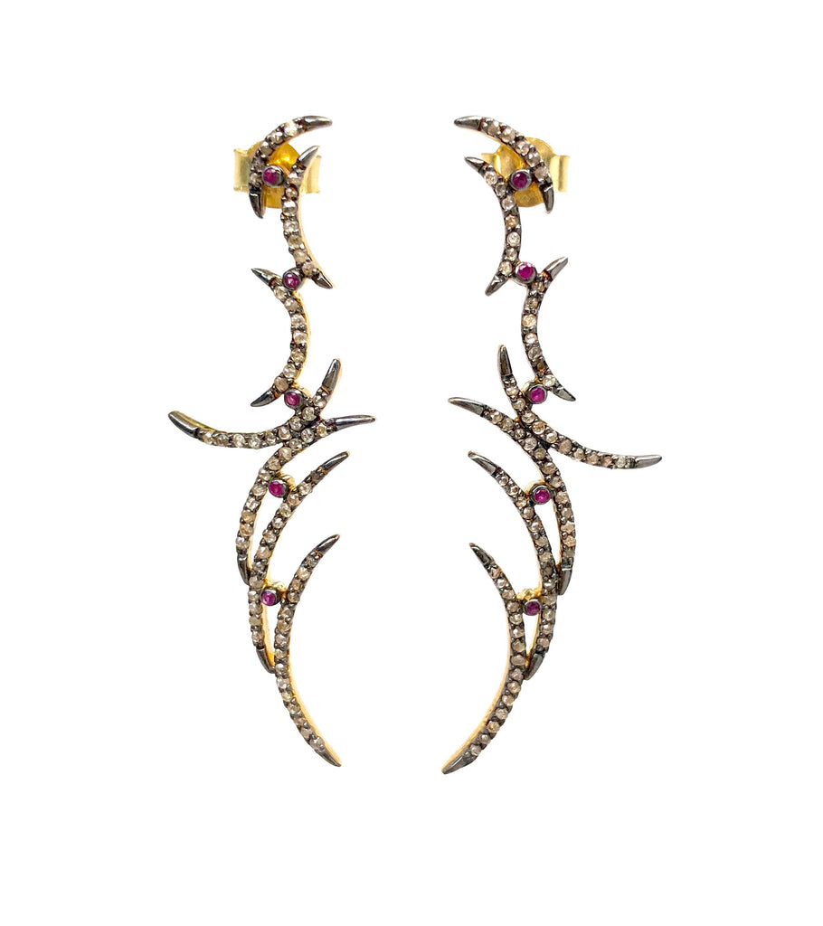 Diamond Crescent Earrings with Ruby Accents