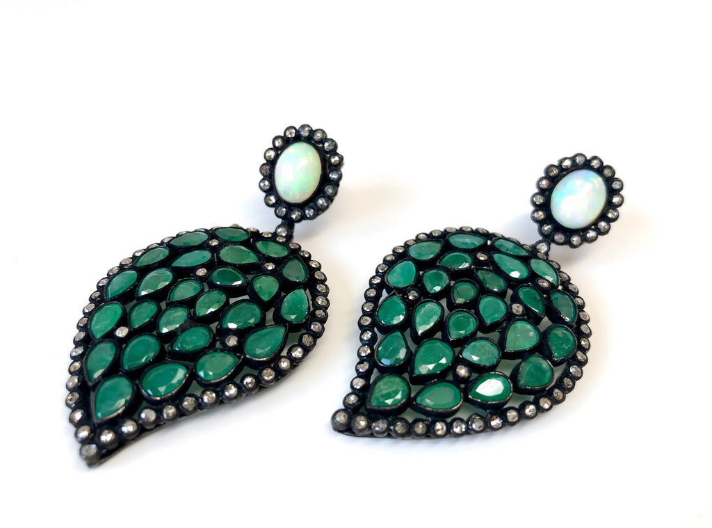 Diamond, Emerald & Opal Earrings