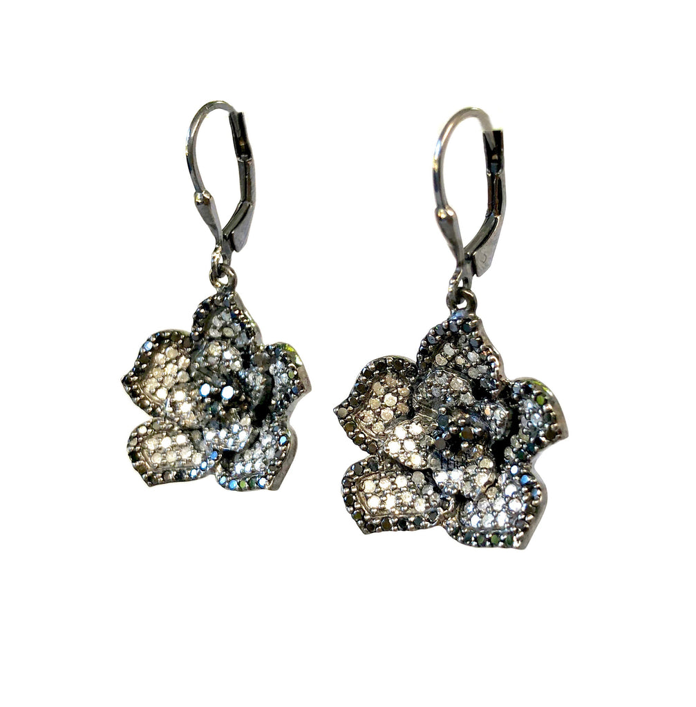 Silver & Black Diamond Flower Earrings