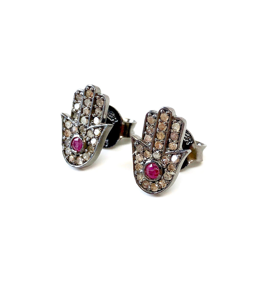 Small Diamond & Ruby Hamsa Stud Earrings