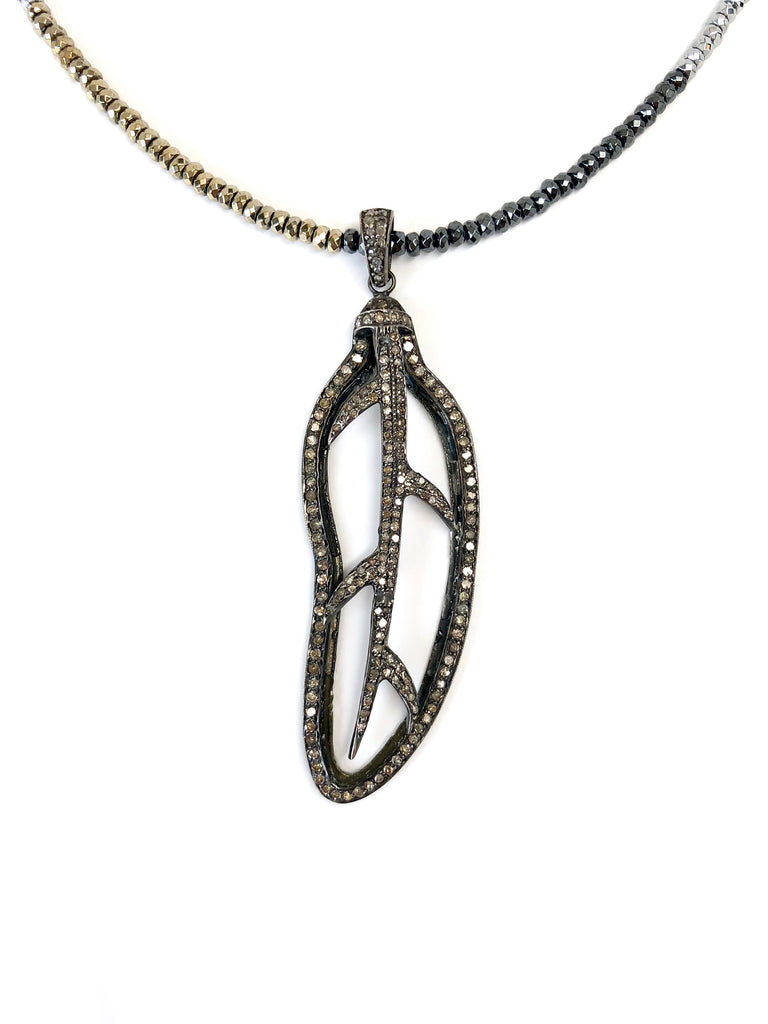 Diamond Leaf Pendant on Tri-Color Hematite Necklace