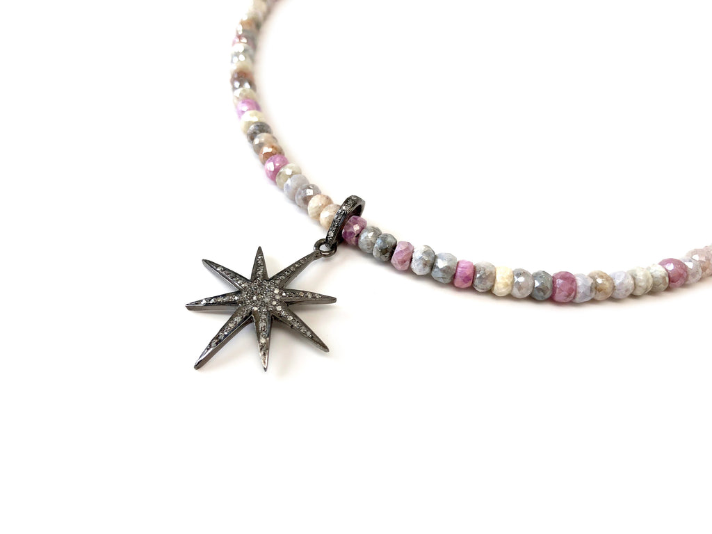 Mini Diamond 8-Point Star on Pastel Silverite Necklace