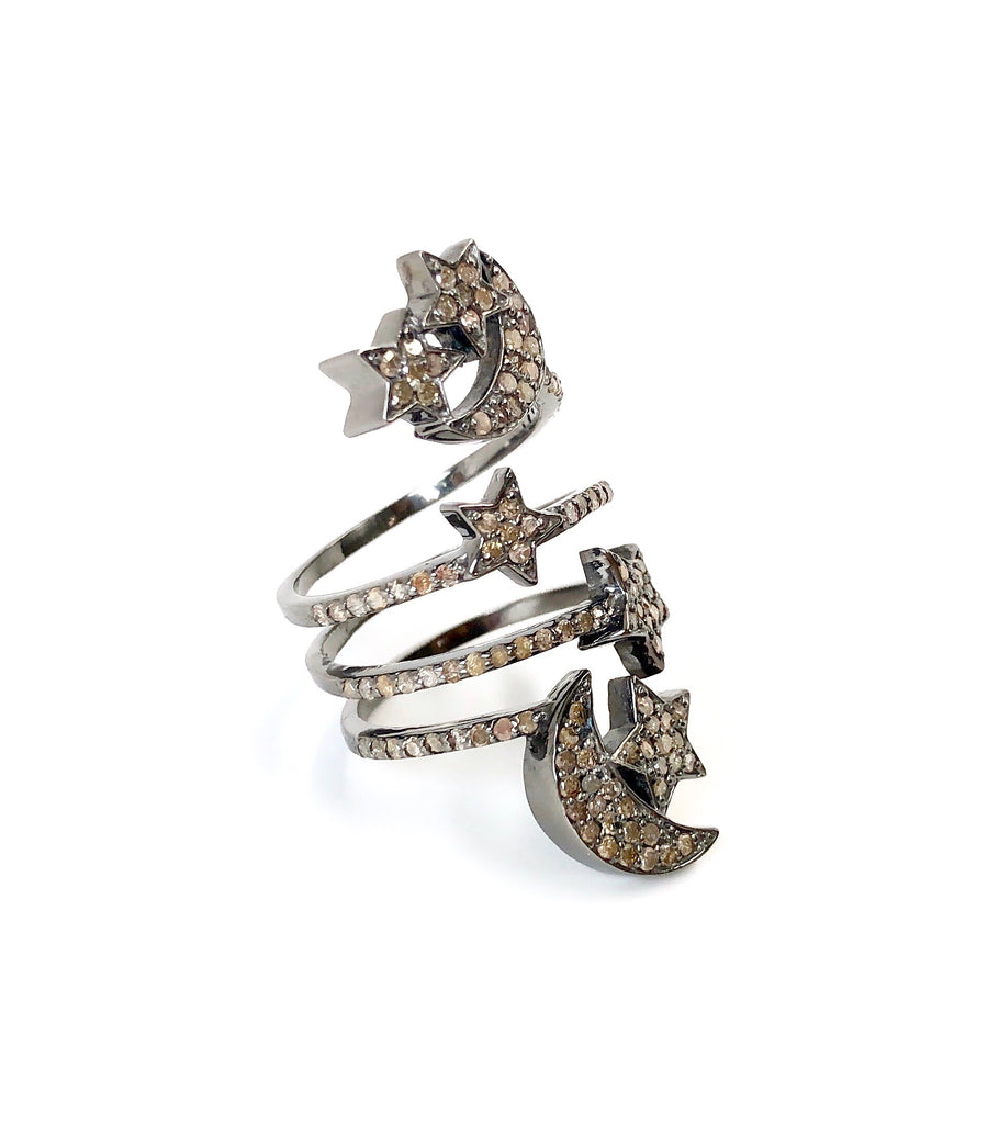 Diamond Moons & Stars Ring