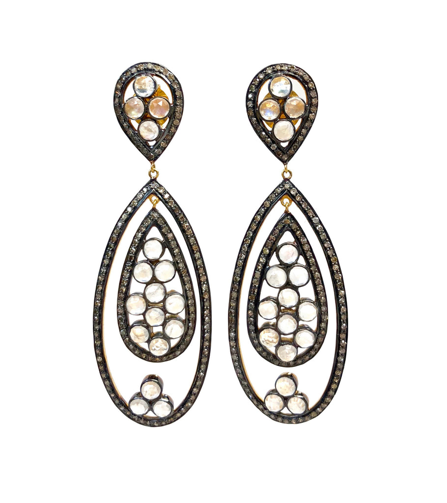 Diamond & Moonstone Moveable Teardrop Earrings