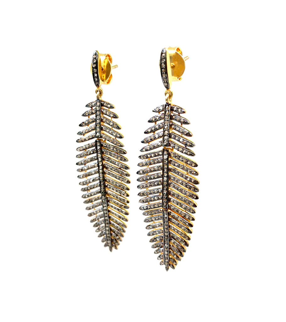 Diamond Moveable Leaf Earrings