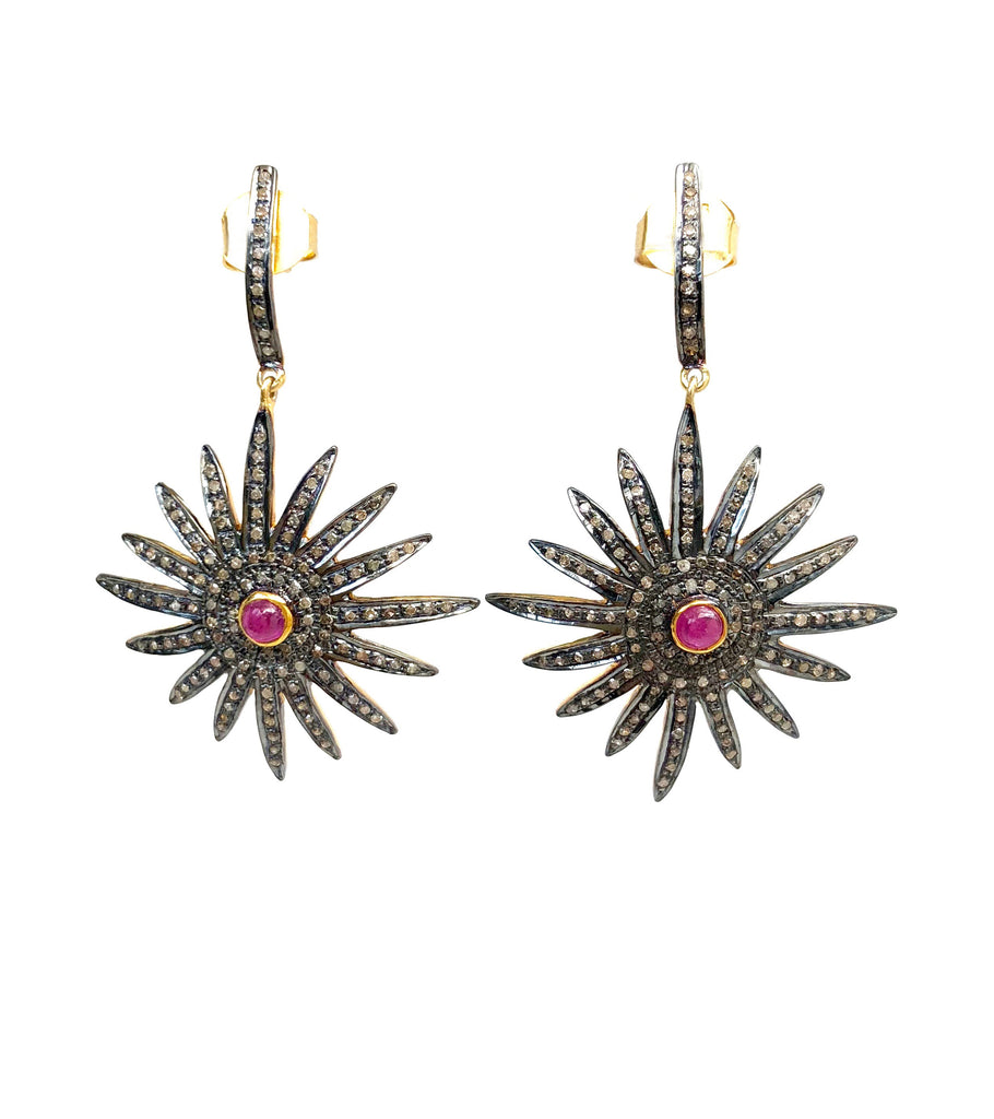 Diamond & Ruby 16-Point Star Earrings