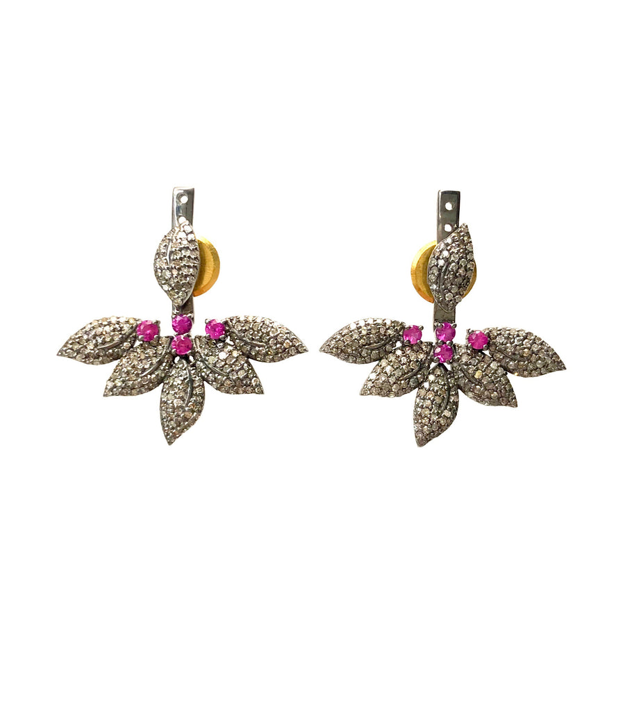 Diamond & Ruby Floating Leaf Earrings