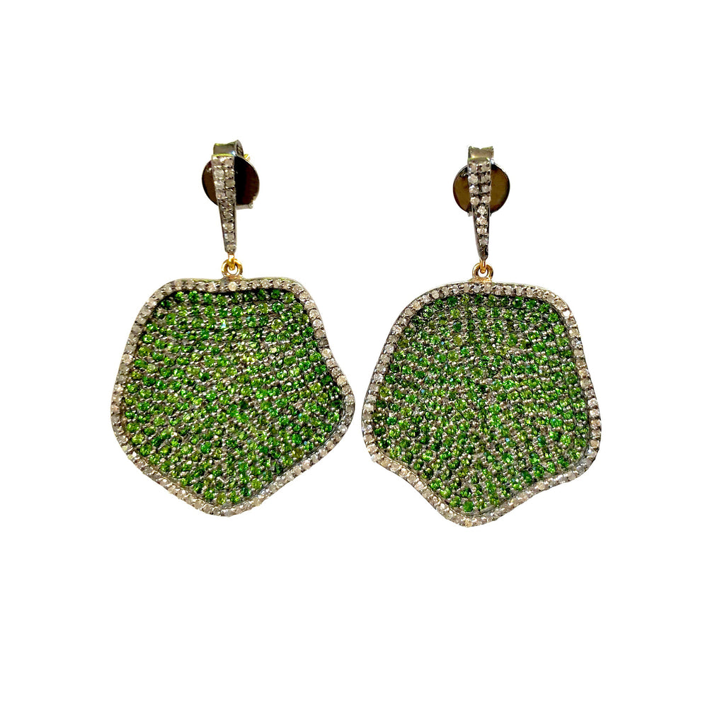 Diamond and Green Tsavorite Lily Pad Earrings
