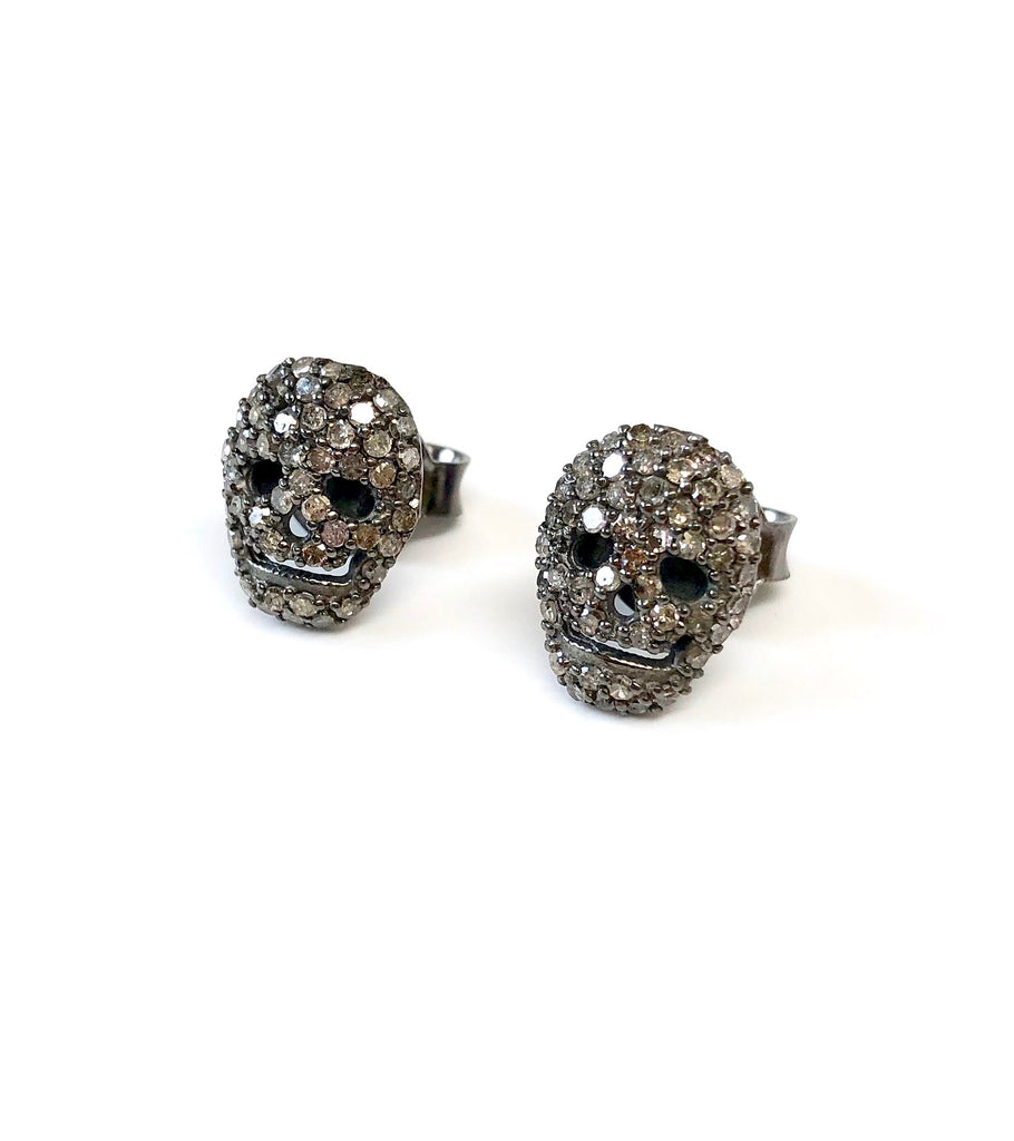Small Diamond Skull Stud Earrings