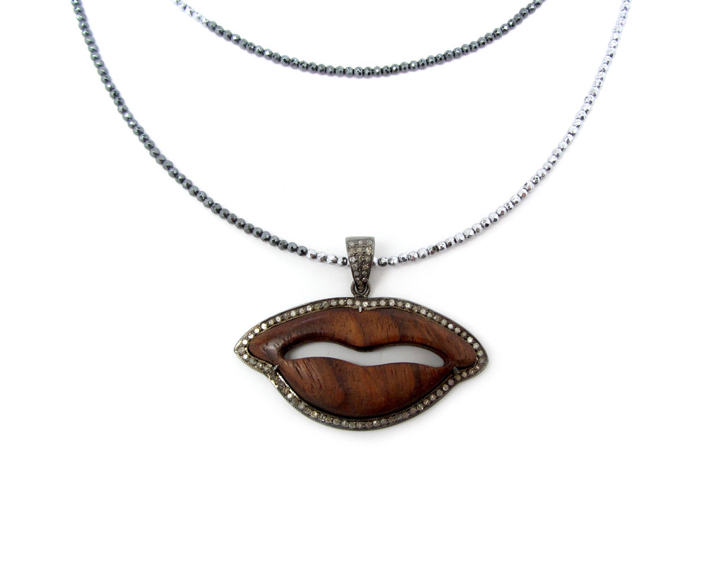 Diamond Wooden Lips Pendant on Tri-Color Hematite Necklace