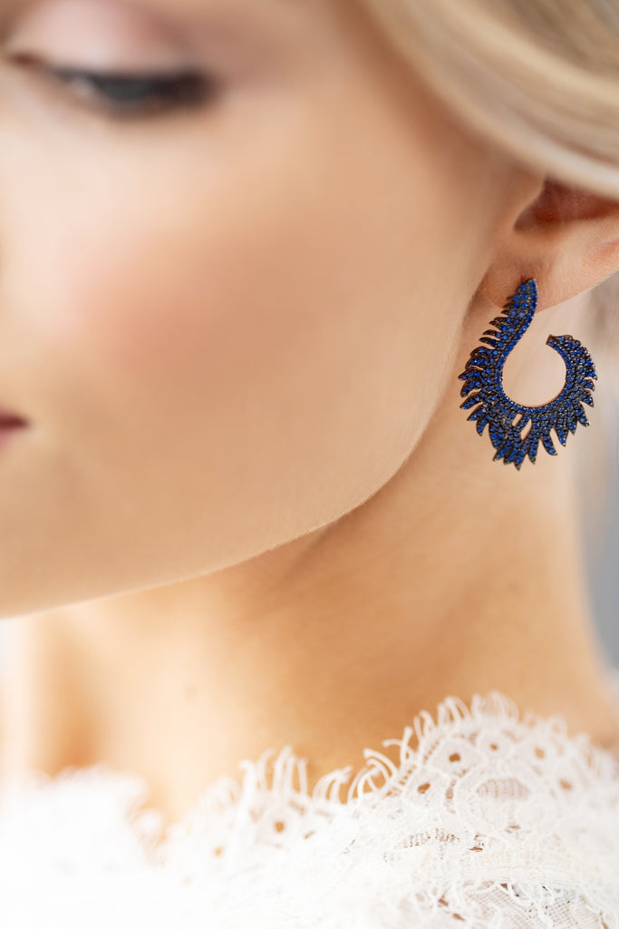 Blue Sapphire Spinel Flame Earrings