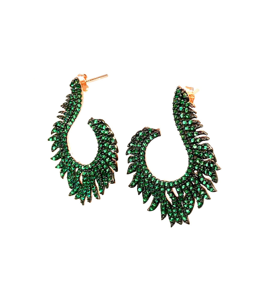Emerald Spinel Flame Earrings