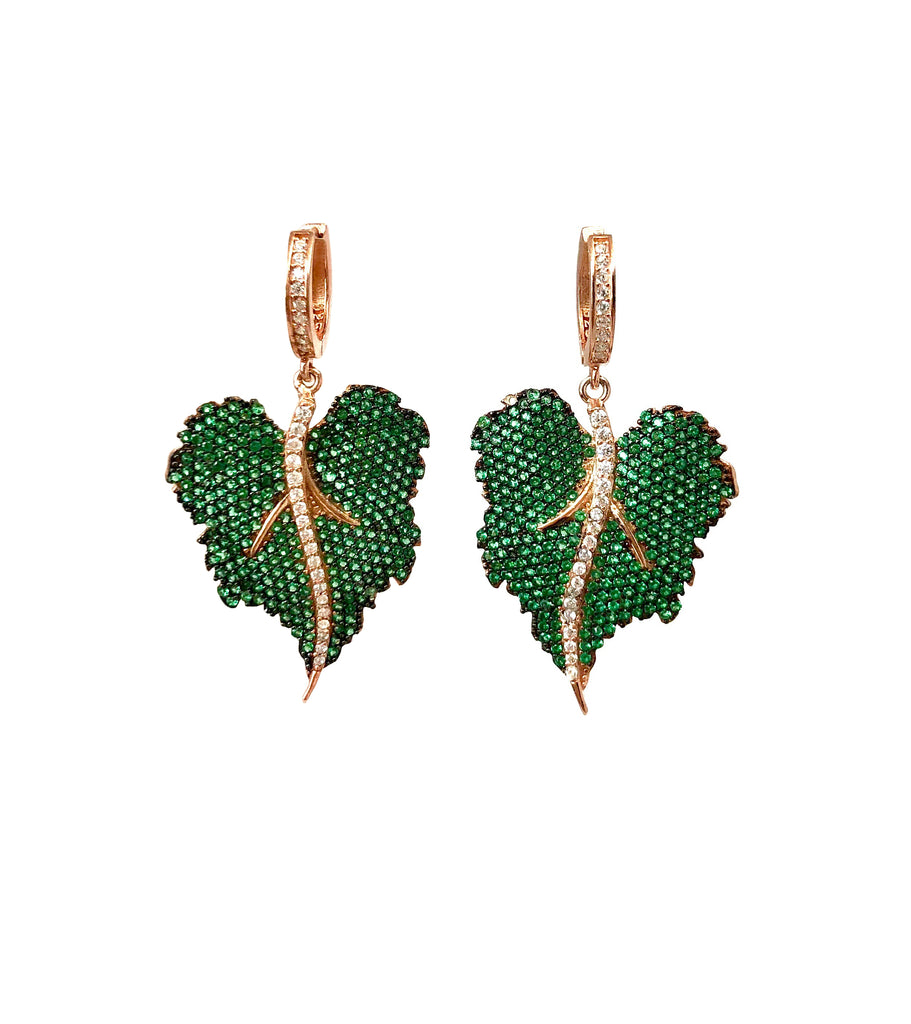 Emerald Spinel Leaf Earrings
