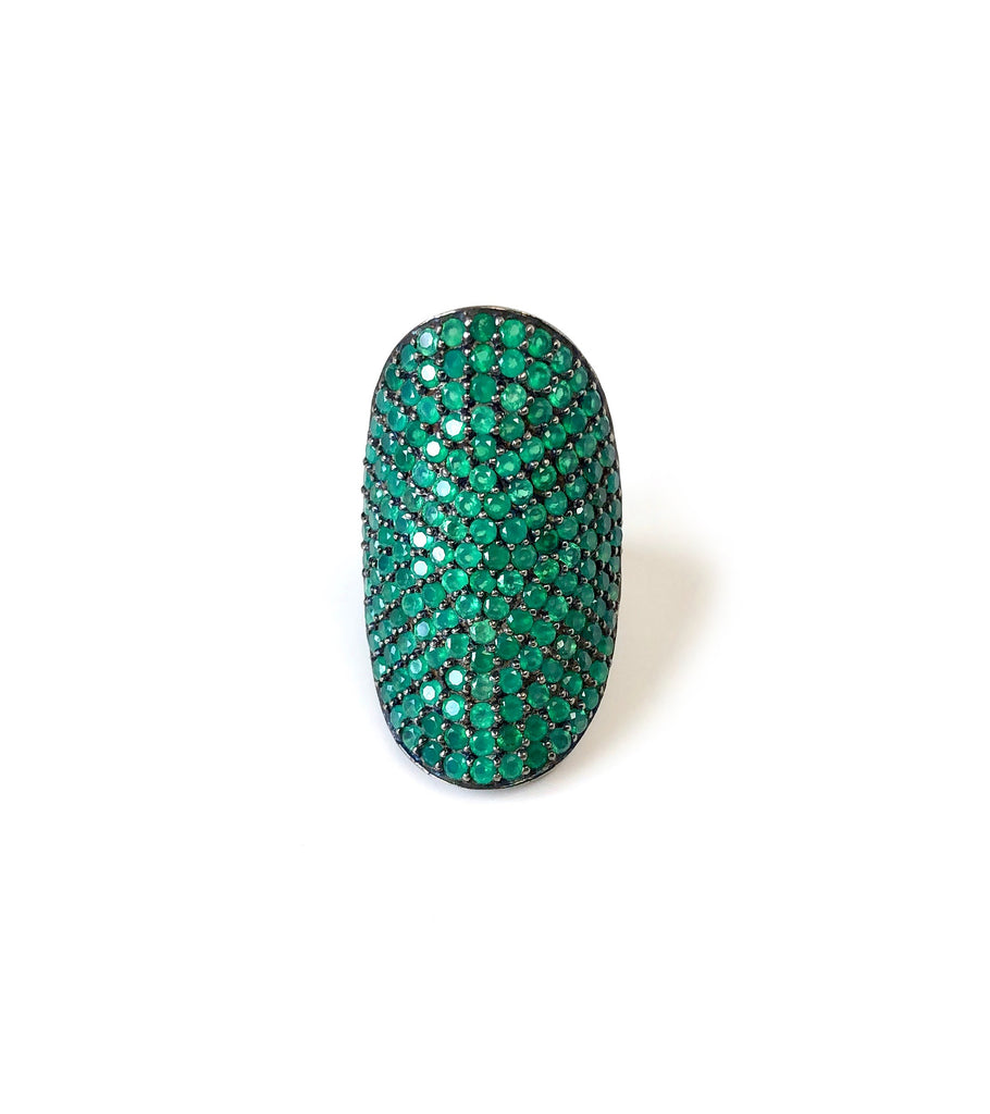 Green Onyx Shield Ring