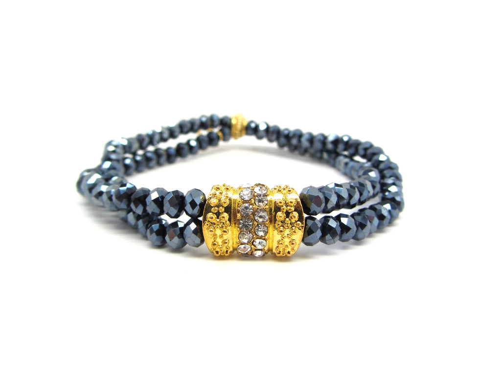 Navy Multi-Strand Bracelet with Bow Connector