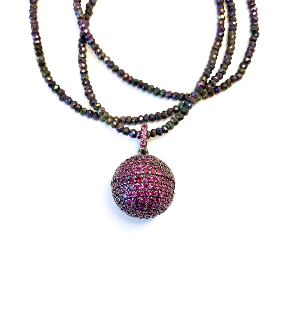 Garnet Ball Pendant on Purple Pyrite Necklace